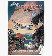 Fliegen Sie in die Karibik von Clipper Vintage Pan American Travel Poster Poster