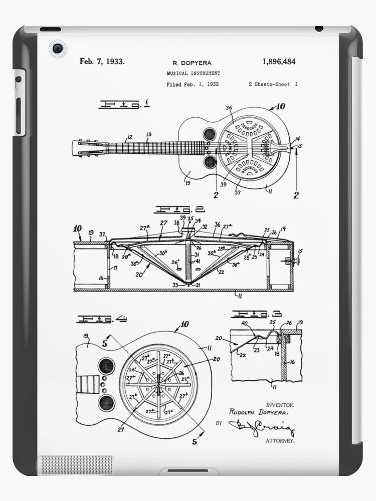 Resonatordobro Guitar Patent Drawing Design Ipad Cases Skins By