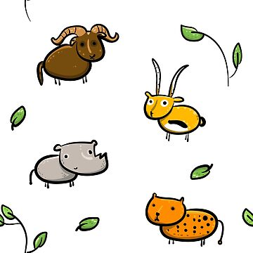 Cute african animals pattern  by isabelrb