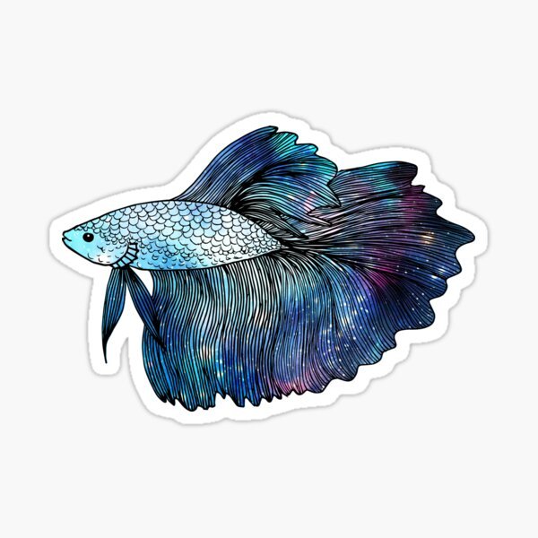 Blue Galaxy Betta Fish Sticker
