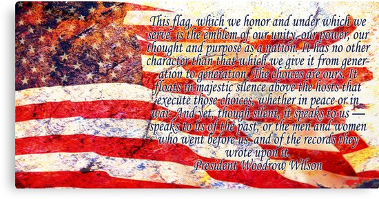 Woodrow Wilson Quote on Flag by Ryan Houston