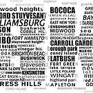 Brooklyn New York Typographic Text Design, BK by icoNYC