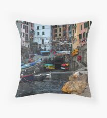 Riomaggorie Harbour-Cinque Terre, Italy Throw Pillow