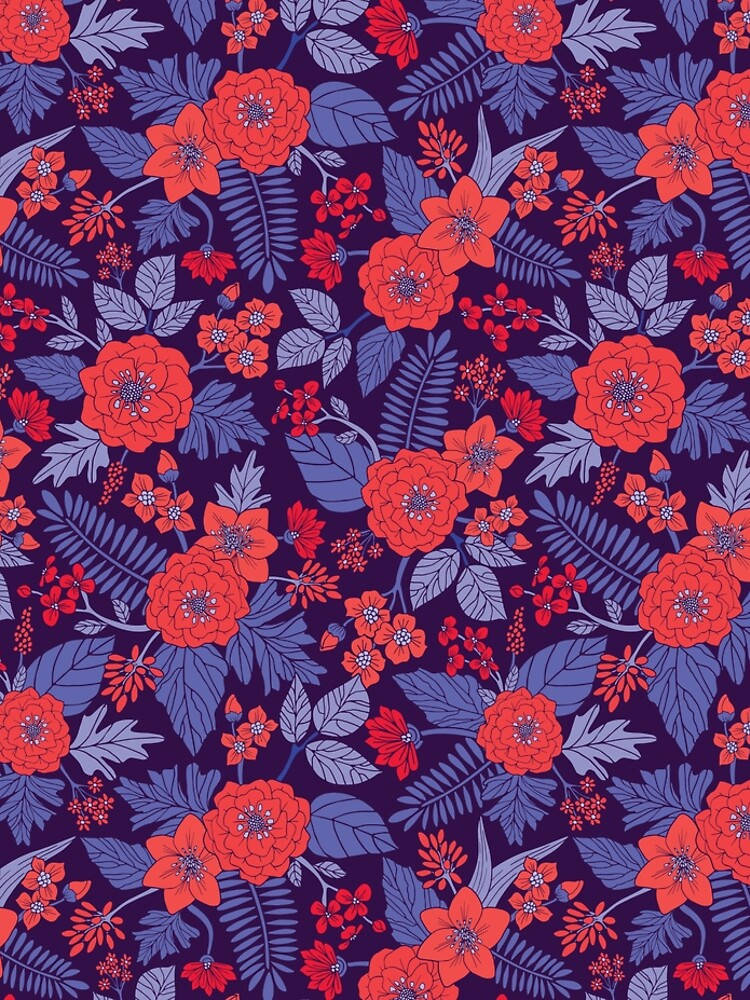 Purple, Red, Coral & Periwinkle Blue Floral Pattern by somecallmebeth