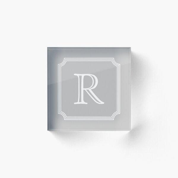 Silver Gray Stylish And Elegant Monogram R Acrylic Block