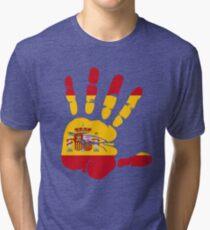 Spain flag in handprint Tri-blend T-Shirt