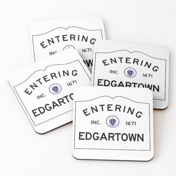 Entering Edgartown - Commonwealth of Massachusetts Road Sign - Martha's Vineyard Coasters (Set of 4)