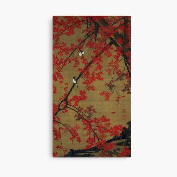 Favourite Artist - Jakuchu Ito - Maple Tree & Small Birds Canvas Print