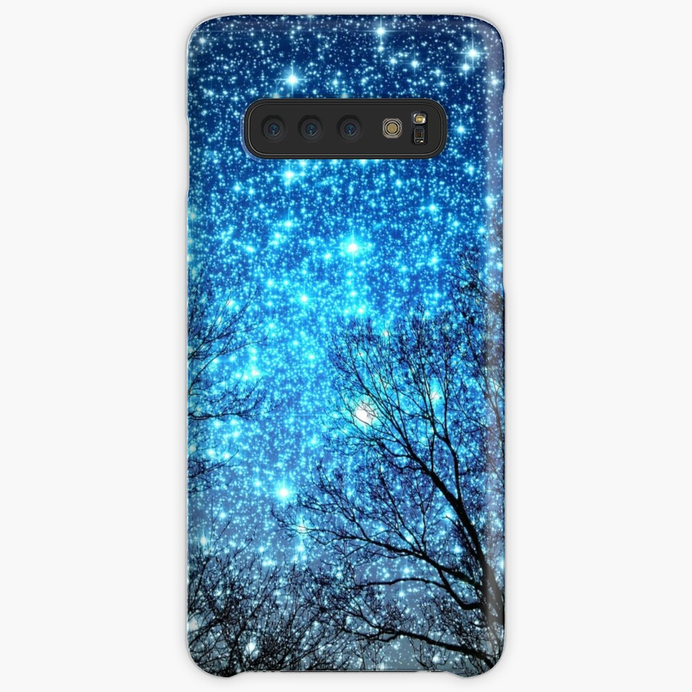 Black Trees Sparkle Blue Space Case & Skin for Samsung Galaxy