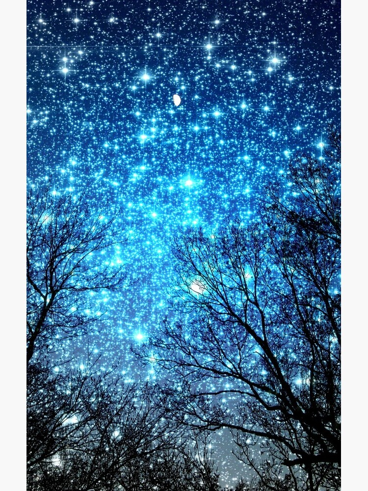 Black Trees Sparkle Blue Space by 2sweetsDesign