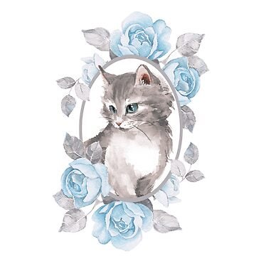 Kitten with blue roses by Gribanessa