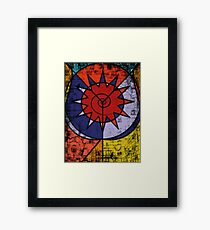 Digital Graffiti of Tribal Symbol in Red, Blue and Yellow Framed Print