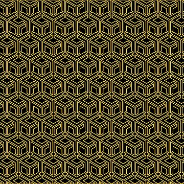 3D Effect Geometric Pattern - Gold Abstract Cubes by FakeMirror