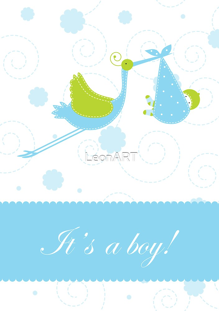 Baby boy arrival announcement card by LeonART