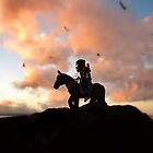 Ninja horseback sunset by bricksailboat