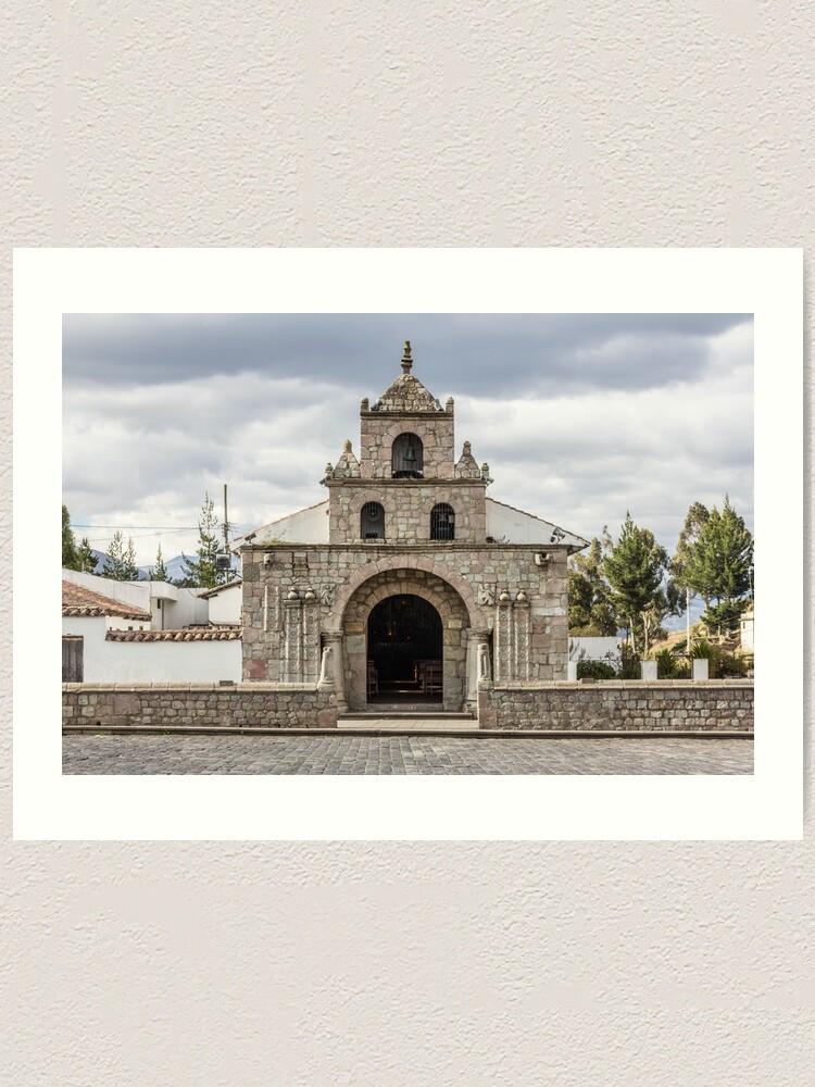 Alternate view of Stone block church facade, Colta, Ecuador Art Print