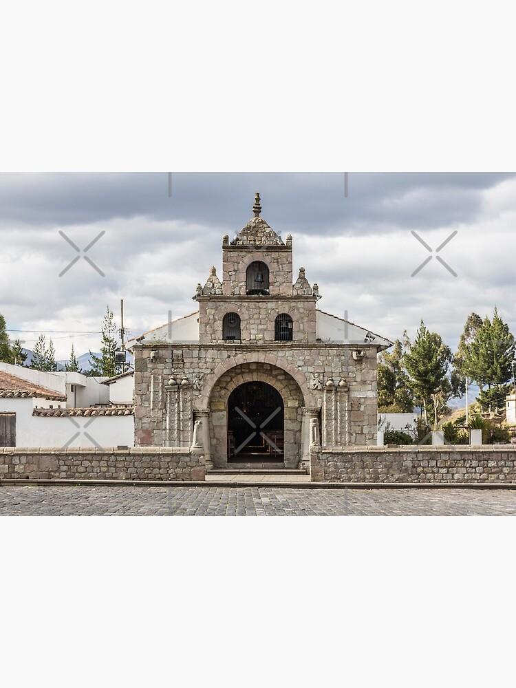 Stone block church facade, Colta, Ecuador by kpander