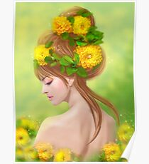 Spring woman in yellow flowers Poster