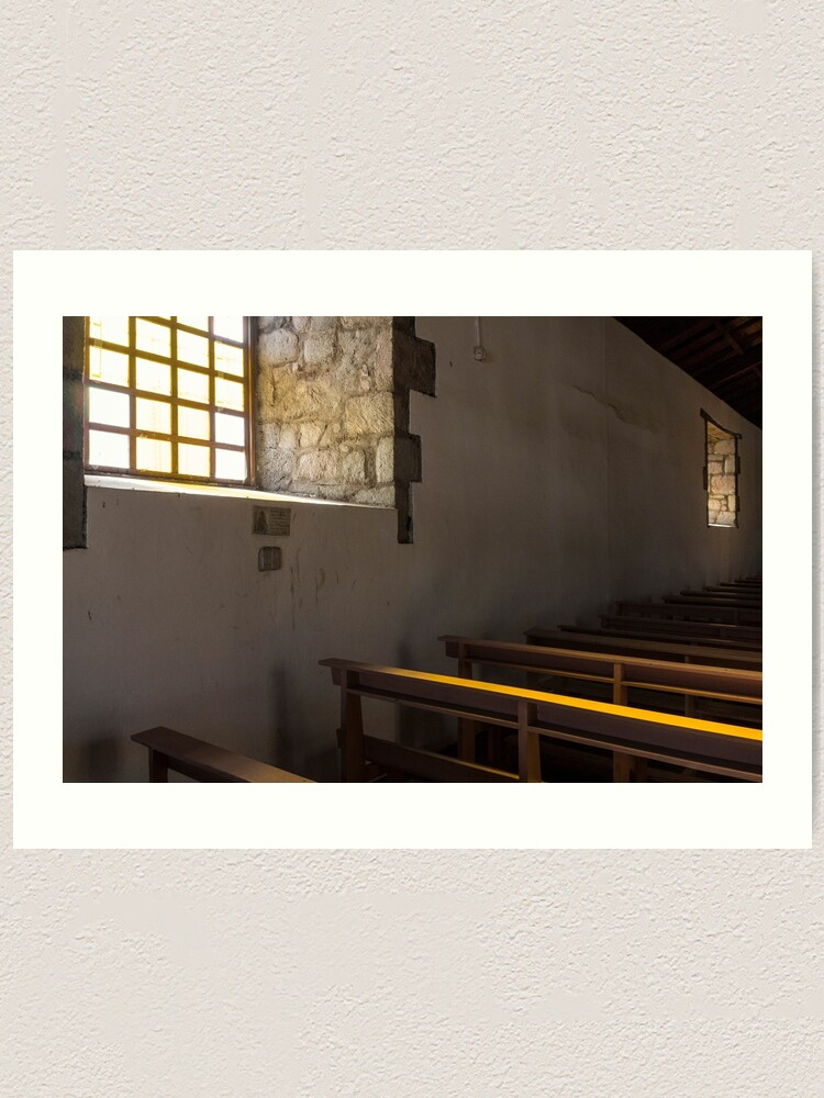 Alternate view of Soft light from window well on to church pews, through stone block wall, Colta, Ecuador Art Print