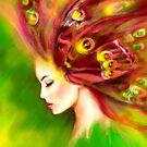 Sommer-Frühlingsschmetterling der schönen Frau des Fantasie-Portraits grüner von Alena Lazareva