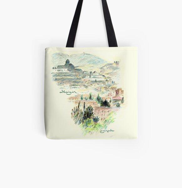 Granada · View of the Albaicín at dawn All Over Print Tote Bag