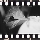 Sensual young lady in short skirt in wedding black and white slide film 35mm analog by edwardolive