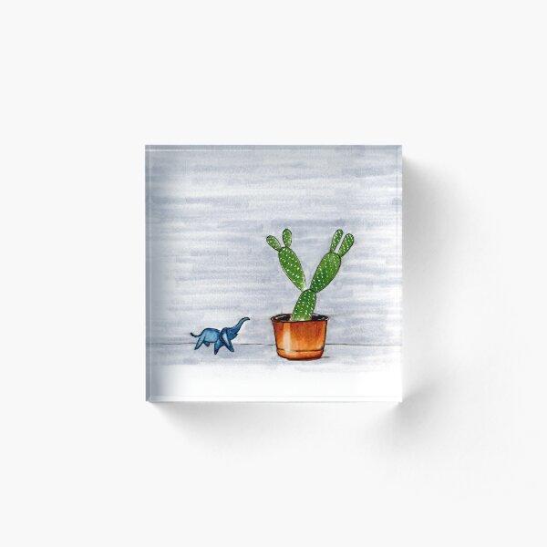 The Cactus & The Happy Elephant Acrylic Block