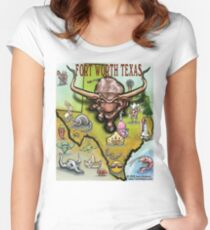 Fort Worth Texas Cartoon Map Women's Fitted Scoop T-Shirt