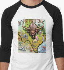 Fort Worth Texas Cartoon Map T-Shirt