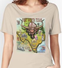 Fort Worth Texas Cartoon Map Women's Relaxed Fit T-Shirt