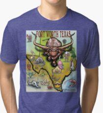 Fort Worth Texas Cartoon Map Tri-blend T-Shirt