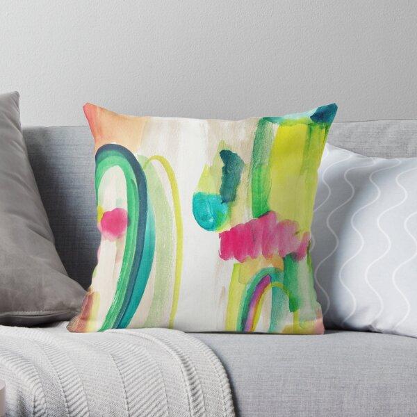 Peinture abstraite colorée dans WaterColor Coussin