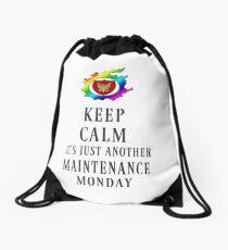 Keep Calm Maintenance Monday Black Drawstring Bag