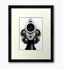 Guns Shooting Smiling emoticons Framed Print