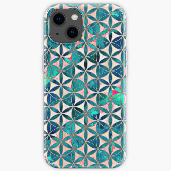 Flower-of-Life Paint Texture Turquoise iPhone Soft Case