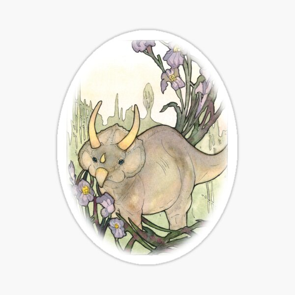 Triceratops in the Iris Watercolor Sticker