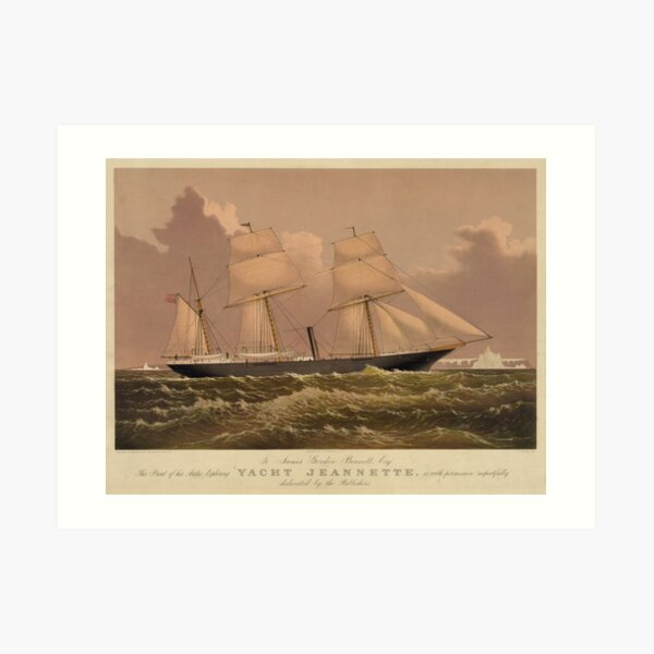 Vintage Illustration of a Frigate Sailboat (1881) Art Print