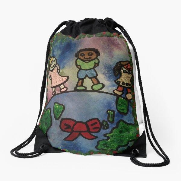 Children Around the World Painting Drawstring Bag