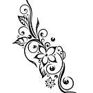 Filigrane Tribal Ranke mit Blüten und Blätter. von Christine Krahl