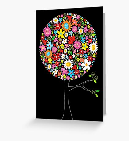 Whimsical Colorful Spring Flowers Pop Tree Greeting Card