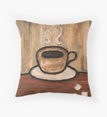 Mixed Media Coffee Cup Throw Pillow