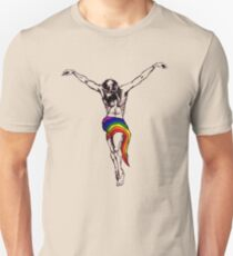 Gay Christ Wearing Rainbow LGBTQ Loincloth Unisex T-Shirt