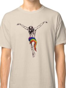 Gay Christ Wearing Rainbow LGBT Loincloth Classic T-Shirt