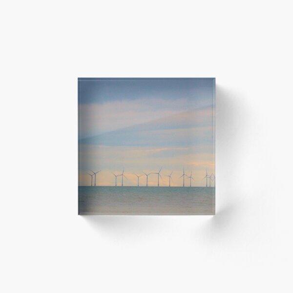 Wind turbines in salmon skies Acrylic Block