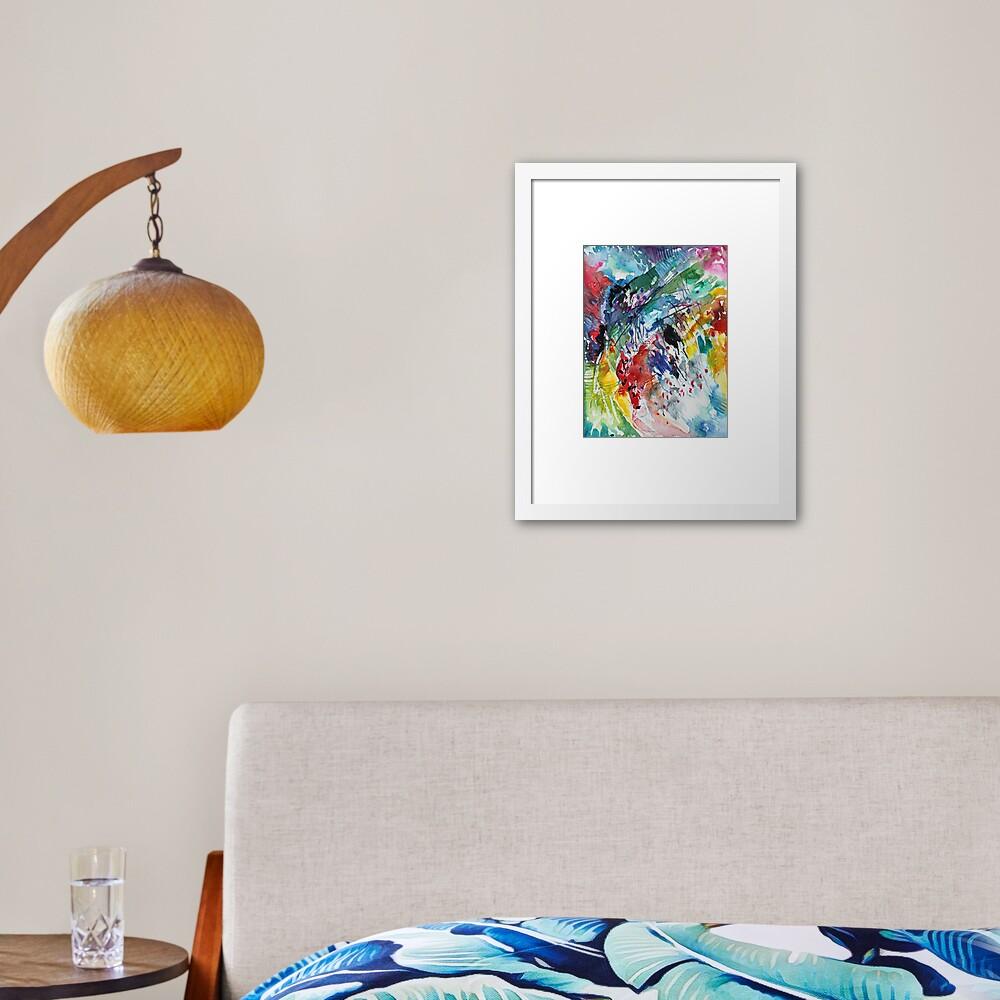 Rainbow landscape  - Original abstract watercolour by Francesca Whetnall Framed Art Print