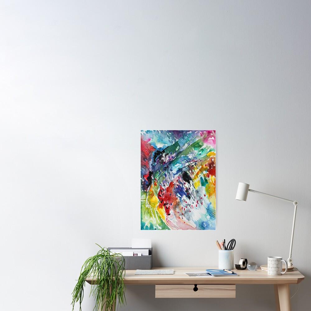 Rainbow landscape  - Original abstract watercolour by Francesca Whetnall Poster