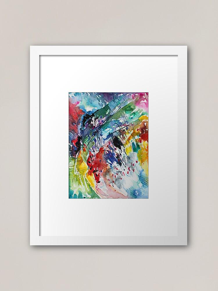 Alternate view of Rainbow landscape  - Original abstract watercolour by Francesca Whetnall Framed Art Print