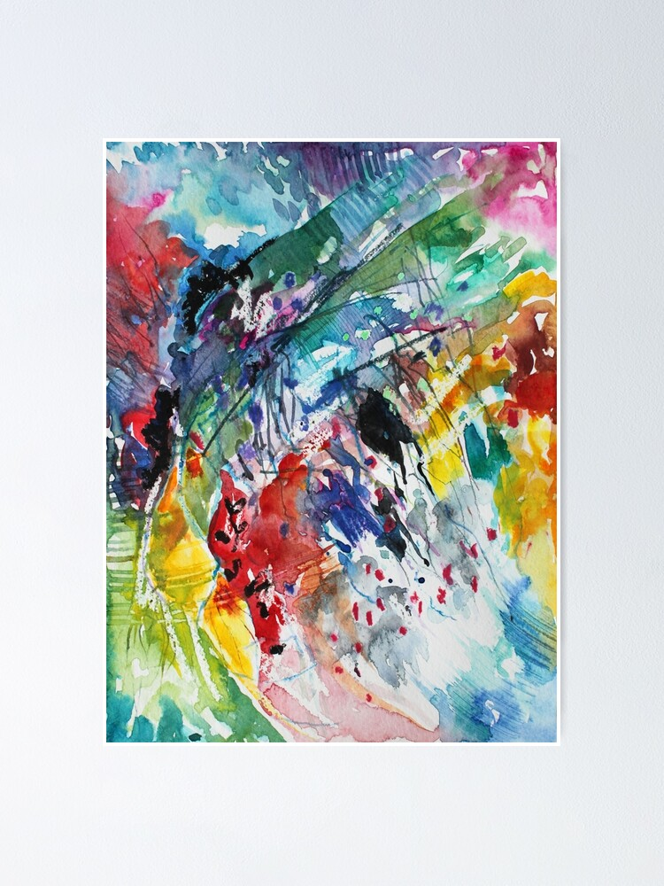 Alternate view of Rainbow landscape  - Original abstract watercolour by Francesca Whetnall Poster
