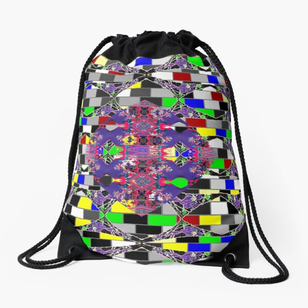 Tracery, weave,  template, routine, stereotype, gauge, mold, sample Drawstring Bag