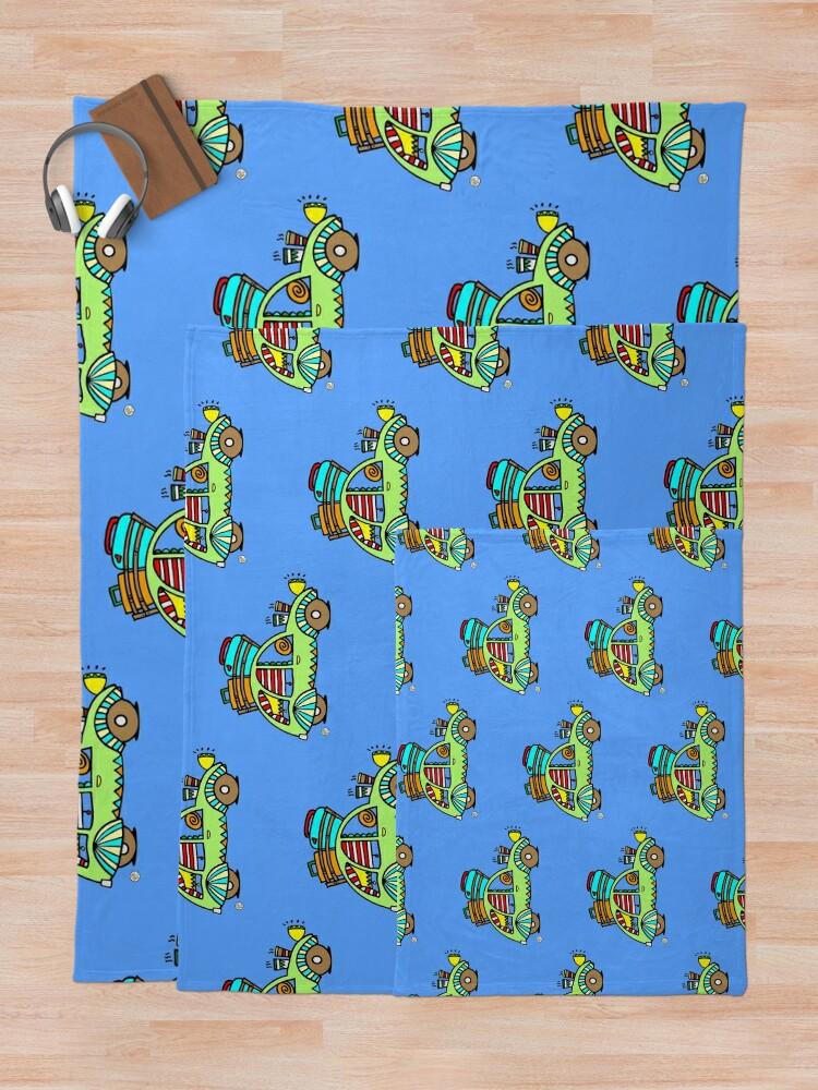 Alternate view of cute green 2CV car vehicle cute travel design 01 Throw Blanket